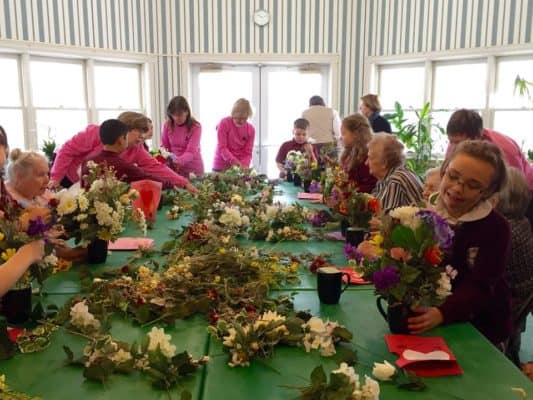 Flower arranging with the Garden Club and area students