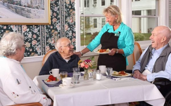 Residents are served delicious meals by friendly staff