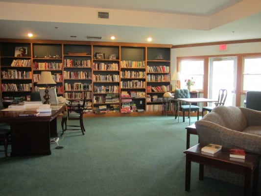 Residents can find a book or newspaper to read in the library